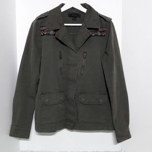 F21 army green jacket with tribal detail